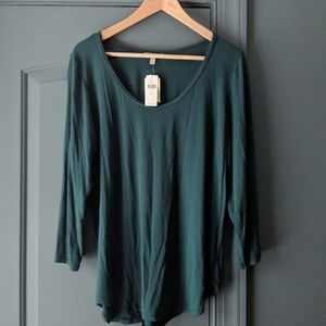 NWT Anthropologie emerald green pullover blouse L